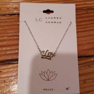 LC Lauren Conrad Silvertone  Lotus necklace New